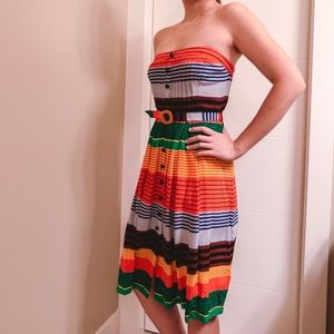 Anthropologie Orange Striped Dress